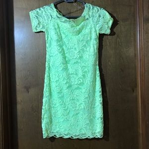 Lace Bodycon Dress - Lime Green 6